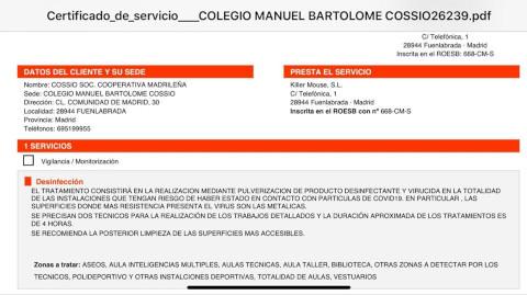 DESINFECCIÓN EN EL COLEGIO DEL COVID-19